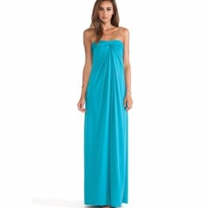 Halston heritage blue strapless structures maxi r